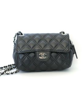 Chanel Mini Flap Crossbody Shoulder Bag Black Quilted Lambskin Mirror by Chanel
