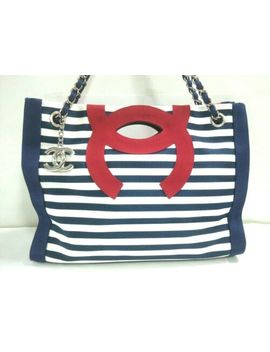 Auth Chanel Grosgrain Mm A47944 Navy White Red Nylon Tote Bag by Chanel