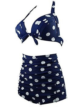Linda Per Comfortable Women's Vintage High Waist Padded Polka Dot Bikini Swimsuit Set by Linda Per Athletic Two Piece Swimsuits
