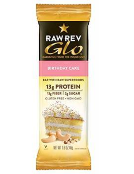 Raw Rev Glo Protein Bars, Birthday Cake, 1.6 Oz Bar (Pack Of 12) by Raw Rev Glo