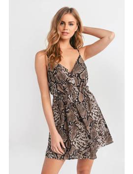 Blow A Hiss Brown Snake Print Dress by Tobi