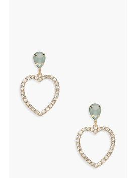 Diamante Heart Drop Earrings by Boohoo