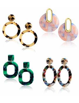 Thunaraz 3 6 Pairs Acrylic Earrings For Women Hoop Lightweight Resin Earrings Bohemian Dangle Drop Statement Stud Jewelry by Thunaraz