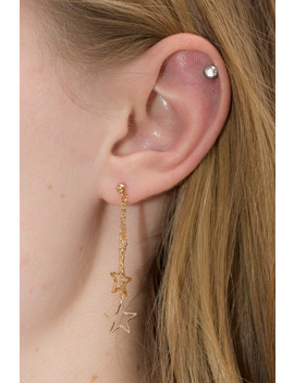 Gold Hollow Star Charm Drop Earrings by Brandy Melville