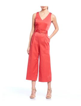 Reade V Neck Belted Crop Stretch Sateen Jumpsuit by Antonio Melani