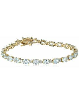 """18k Yellow Gold Plated Sterling Silver Diamond Accent Two Tone Gemstone And Tennis Bracelet, 7.25"""" by Amazon Collection"""