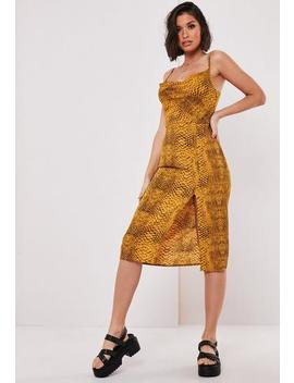 Yellow Snake Print Cowl Midi Slip Dress by Missguided