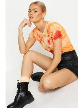 Tie Dye Printed Mesh Crew Neck Longer Line Top by Boohoo