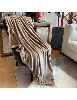Lomao Flannel Blanket With Pompom Fringe Lightweight Cozy Bed Blanket Soft Throw Blanket Fit Couch Sofa Suitable For All Season (51x63) (Khaki) by Lomao