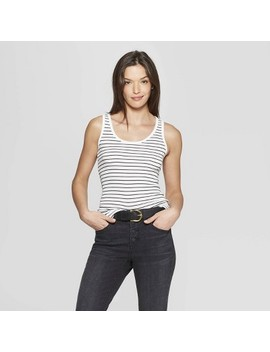 Women's Striped Rib Racerback Scoop Neck Tank Top   Universal Thread White/Black by Universal Thread White/Black