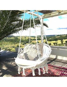 Hammock Chair Macrame Swing 265 Pound Capacity Handmade Knitted Hanging Swing Chair For Indoor/Outdoor Home Patio Deck Yard Garden Reading Leisure Lounging by Sonyabecca