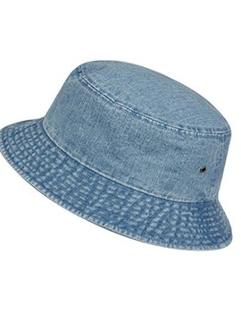 Casual Denim Jean Summer Bucket Hat, 100% Cotton Packable Sun Protection, Unisex by E Flag