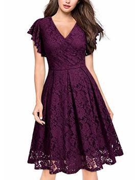 Missmay Women's Vintage Floral Lace Ruffle V Neck Cocktail Formal Swing Dress by Miss May