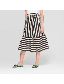 Women's Striped Ruffled Hem Tie Waist Midi Skirt   Who What Wear Black/Yellow by Who What Wear Black/Yellow