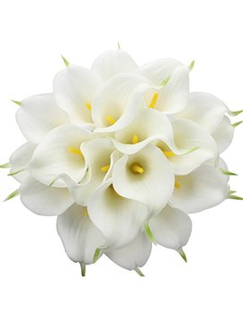 Duovlo 20pcs Calla Lily Bridal Wedding Bouquet Lataex Real Touch Artificial Flower Home Party Decor (White) by Duovlo
