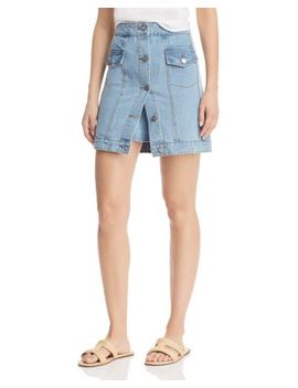 For The Story Denim Skirt In Washed Blue by C/Meo Collective