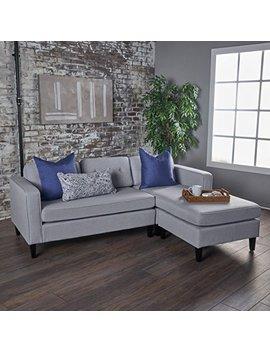 Windsor Two Piece Sectional Sofa Mid Century Danish Scandinavian Design (Light Grey) by Gdf Studio