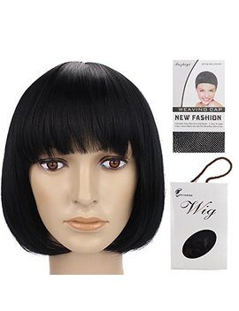"""Grammy 11"""" 150g Straight Flat Bang Bob Black Short Synthetic Cosplay Hair Wig For Women Natural As Real by Grammy"""
