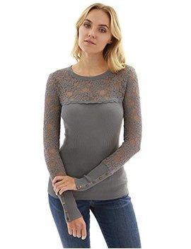 Patty Boutik Women's Lace Inset Crewneck Ribbed Sweater by Patty Boutik