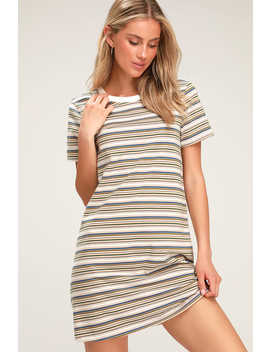 72bd30307a7 Binx Tan Striped Short Sleeve Shirt Dress by Lulus