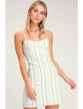 b04da8b6767 Honey Sweet Light Green Striped Mini Dress by Lulus