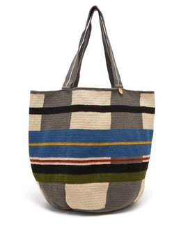 Grid Striped Woven Tote Bag by Guanabana