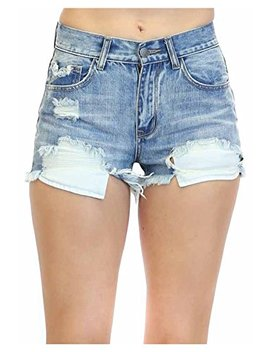 Twiin Sisters Women's Distressed Destroyed Washed Denim Short Shorts With Comfort Stretch by Twiin Sisters