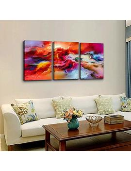 "Abstract Red Colors Wall Art For Living Room Canvas Print Wall Decor Painting 12"" X 16"" 3 Pieces Framed Abstract Watercolor Giclee With Border Ready To Hang Canvas Modern Home Office Decor Works by Mhart66"