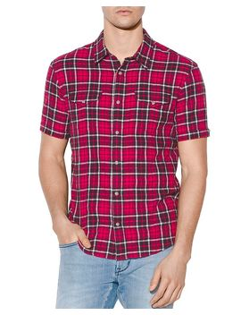 Denton Short Sleeve Plaid Regular Fit Shirt by John Varvatos Star Usa