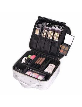 Joyful Professional Travel Makeup Case,Marble Makeup Cosmetic Train Case Organizer Bag With Dividers... by Joyful
