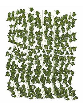 Juvale Artificial Ivy Garland   12 Pack Fake Vines, Greenery Ivy Leaf, Artificial Hanging Garland For Home, Wedding, Party, Restaurant Decor, Office, Wall Décor, 2.4 Yards by Juvale