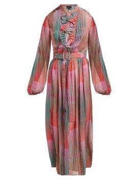 Raquel Checked Silk Crepe De Chine Midi Dress by Saloni