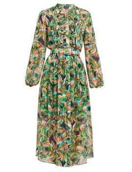 Raquel Printed Silk Crepe De Chine Midi Dress by Saloni