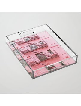 Pink Soho Nyc Acrylic Tray by Society6