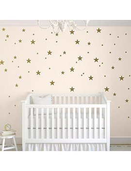 Toar Ti Stars Wall Decals (124 Decals) Wall Stickers Removable Home Decoration Easy To Peel Stick Painted Walls Metallic Vinyl Polka Wall Decor Sticker For Baby Kids Nursery Bedroom (Gold Stars) by Toar Ti