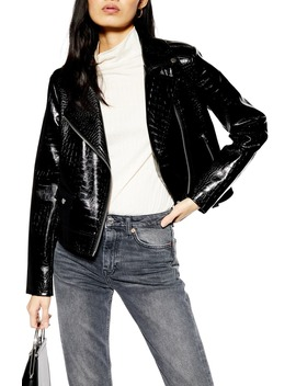 Croc Embossed Faux Leather Jacket by Topshop