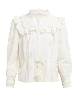 Poppy Pintucked Linen Blend Blouse by Sea