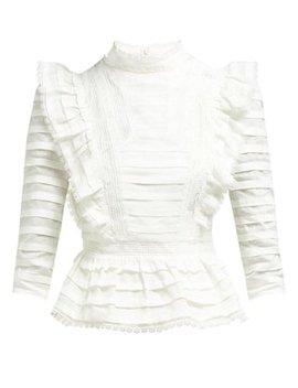 Allia Pintuck High Neck Linen Blouse by Zimmermann