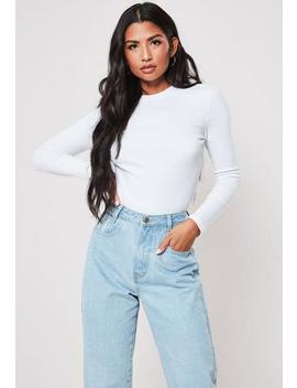 White Ribbed Crew Neck Top by Missguided