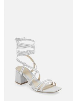 Grey Gingham Cork Heel Asymmetric Lace Up Sandals by Missguided