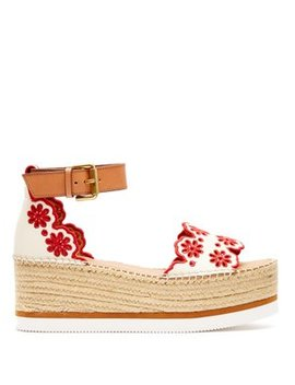 Laser Cut Leather Flatform Espadrilles by See By Chloé