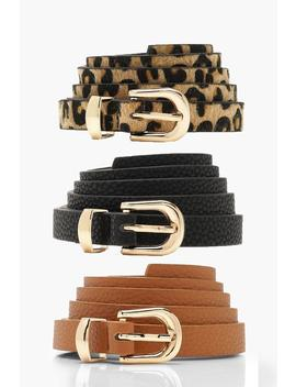 3 Pack Skinny Belt by Boohoo