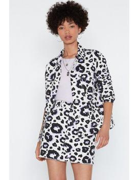Cat Me Some Slack Leopard Denim Jacket by Nasty Gal