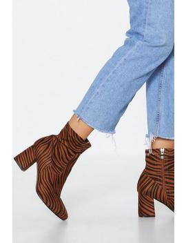 Sock It To 'em Zebra Boots by Nasty Gal