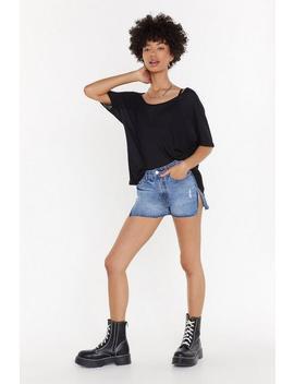 Side Stripe Denim Shorts by Nasty Gal