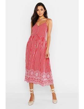 Tall Stripe Embroidered Hem Midi Dress by Boohoo