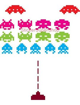 Space Invaders Set Decal Wall Sticker Home Decor Game C624, Regular by Dizzy