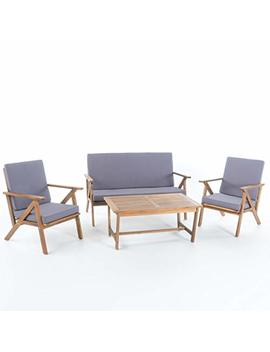 Christopher Knight Home 300251 Manarola 4 Piece Outdoor Acacia Wood Chat Set | In Teak Finish/Grey by Christopher Knight Home