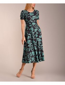 dc614467012c Shoptagr   Black &Amp; Green Floral Short Sleeve Midi Dress Women ...