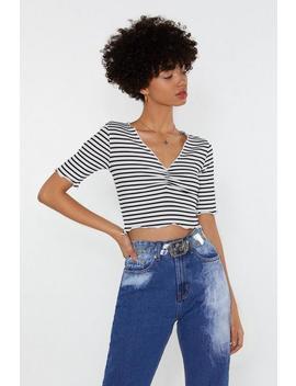 Bide Your Line Striped Crop Top by Nasty Gal